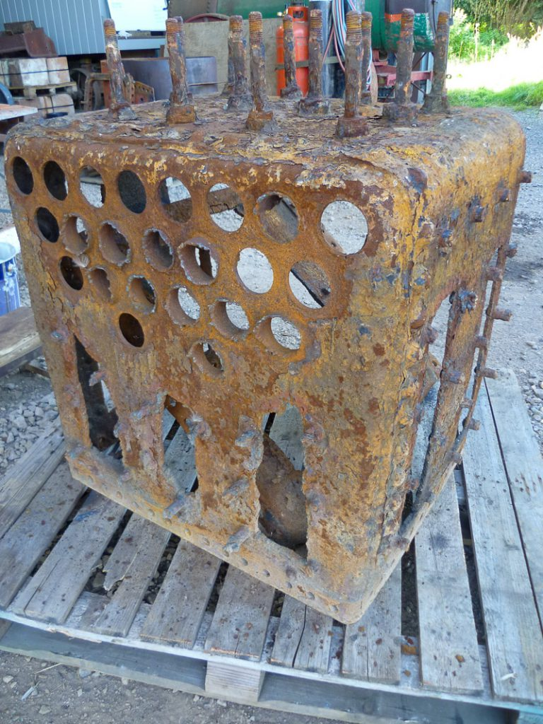 Recently we have been working on B & M 4561 of 1890. Here is a photo of her firebox before restoration.